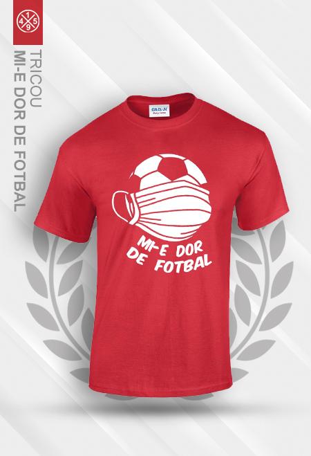 """Tricou rosu """"Mi-e dor de fotbal"""" 0"""