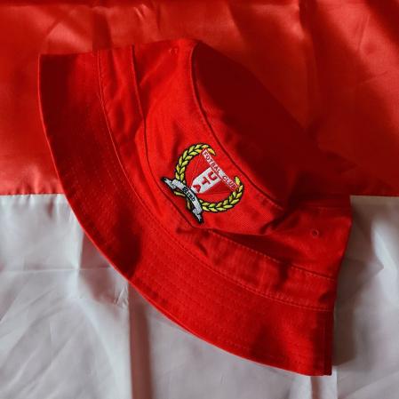 Pălărie roșie brodată copii1
