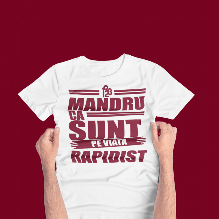 Tricou Alb-Visiniu - Mandru ca sunt Rapidist 0