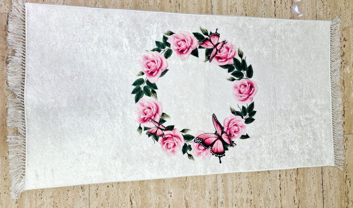 Covor Trandafiri 80x150 cm, (CP 8) print digital, antiderapant cu franjuri [0]