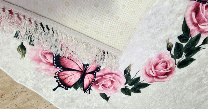 Covor Trandafiri 80x150 cm, (CP 8) print digital, antiderapant cu franjuri [1]