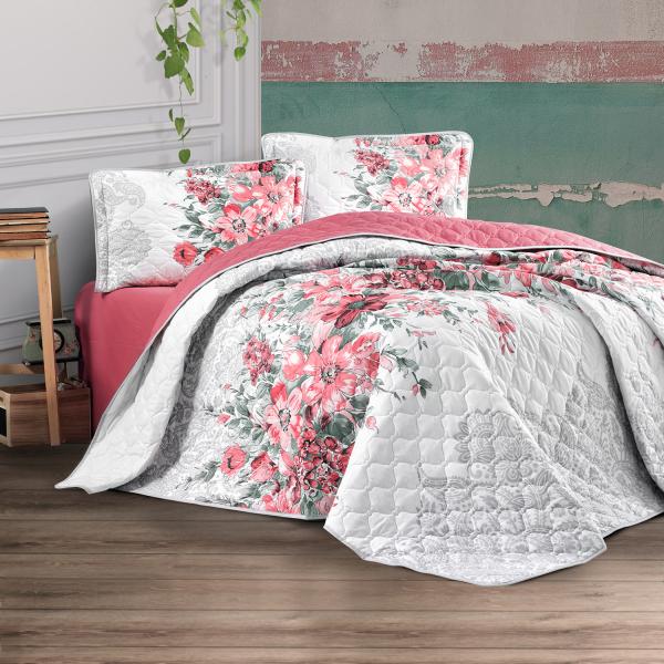 Cuvertură de pat matlasată, bumbac, 2 persoane (ALIN V1) 0