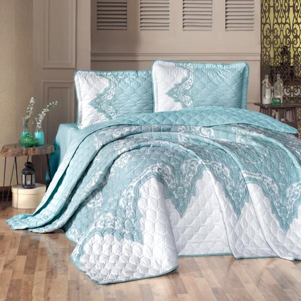Cuvertură de pat matlasată, bumbac, 2 persoane (Mikanos-v1) 0