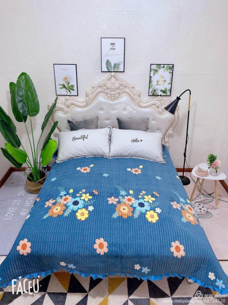 Cuvertura de pat catifea plusata, 2 persoane (203) 0