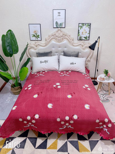 Cuvertura de pat catifea plusata, 2 persoane (200) [0]