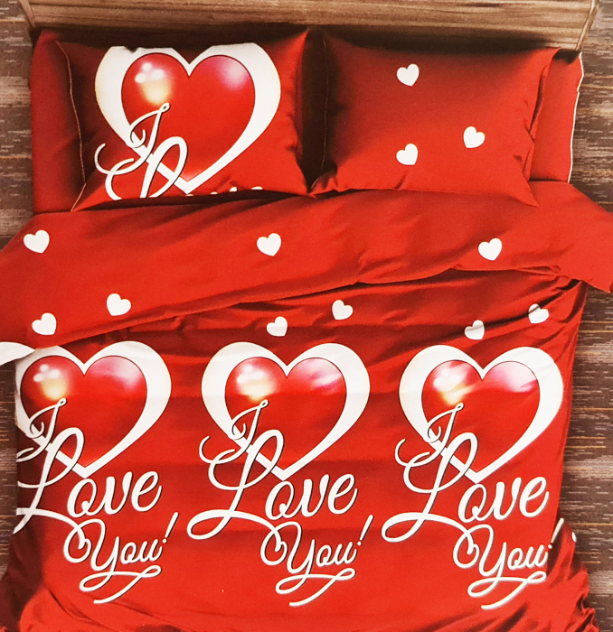 Lenjerie de pat 1 persoana Finet (F 138), Red, I love you [0]