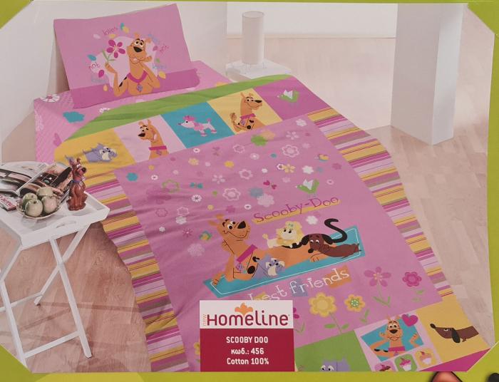 Lenjerie de pat 1 persoana, Bumbac pentru copii (M 1) Scooby Doo, 170 x 260 cm, Home Line [0]