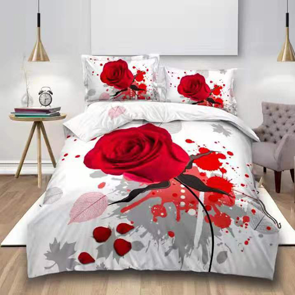Lenjerie de pat digital print 3D (RED ROSE V8) 0