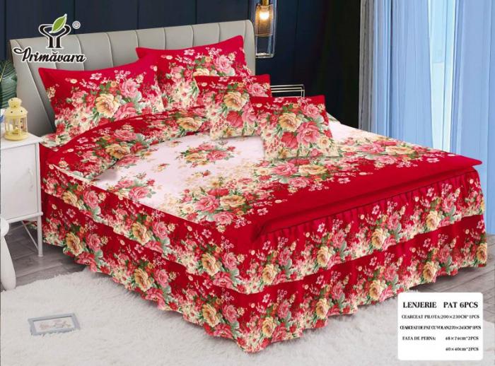 Lenjerie de pat dublu cu volane, FINET 6 piese (FV 3), Rosu cu Flori, 270 x 245 cm, Primavera [0]