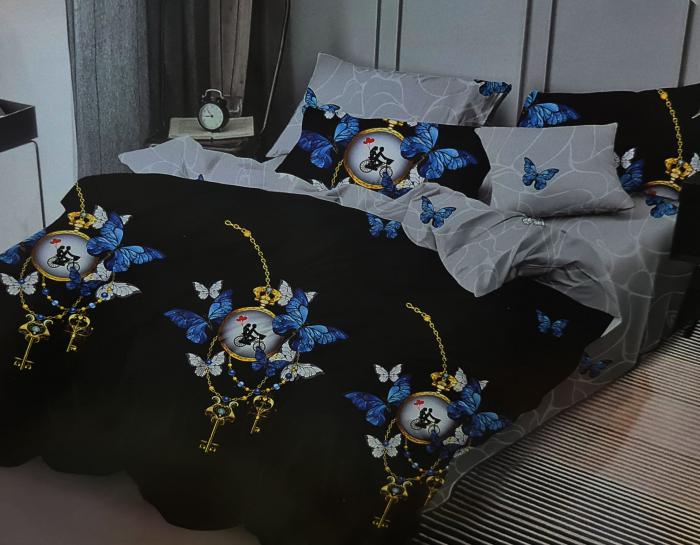 Lenjerie de pat dublu, FINET 6 piese (Finet 933) Galben cu flori, 245 x 250 cm, Luxury Pucioasa [0]