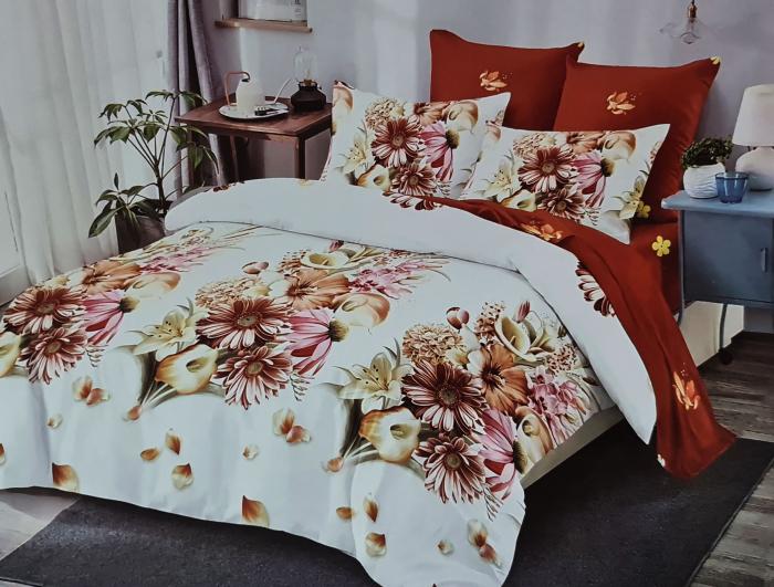 Lenjerie de pat dublu, FINET 6 piese (Finet 934) Galben cu flori, 245 x 250 cm, Luxury Pucioasa [0]