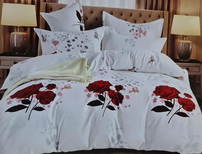 Lenjerie de pat dublu, FINET 6 piese (Finet 937) Galben cu flori, 245 x 250 cm, Luxury Pucioasa [0]