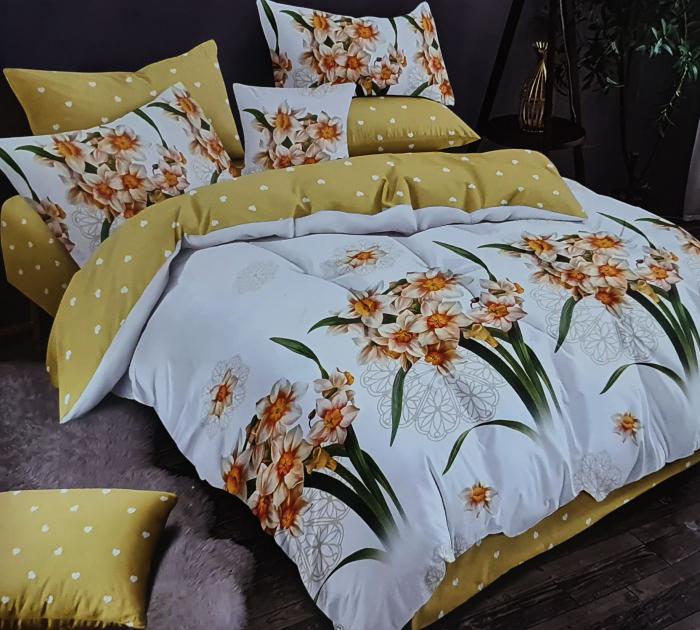 Lenjerie de pat dublu, FINET 6 piese (Finet 939) Galben cu flori, 245 x 250 cm, Luxury Pucioasa [0]