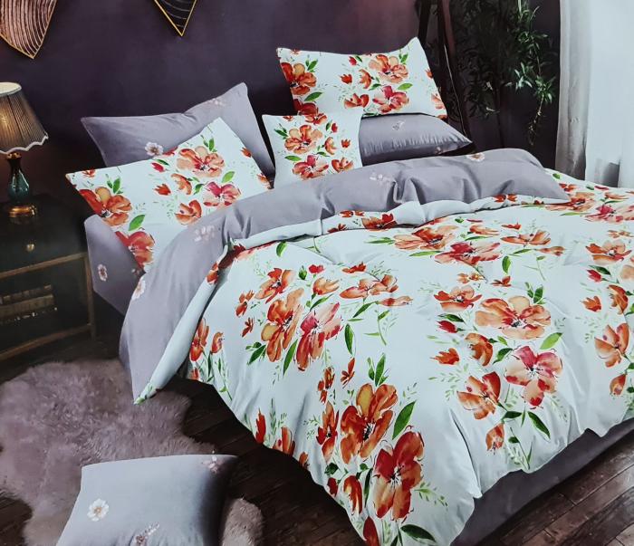 Lenjerie de pat dublu, FINET 6 piese (Finet 940) Galben cu flori, 245 x 250 cm, Luxury Pucioasa [0]