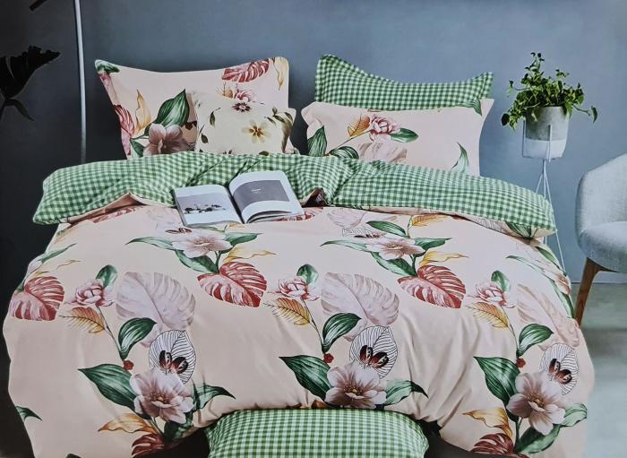 Lenjerie de pat dublu, FINET 6 piese (Finet 942) Galben cu flori, 245 x 250 cm, Luxury Pucioasa [0]