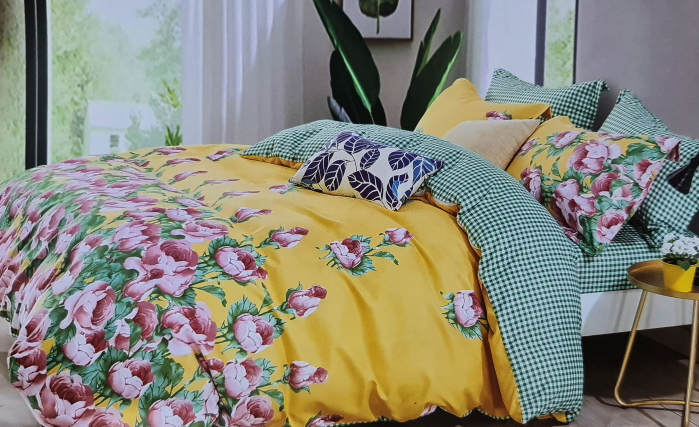 Lenjerie de pat dublu, FINET 6 piese (Finet 944) Galben cu flori, 245 x 250 cm, Luxury Pucioasa [0]
