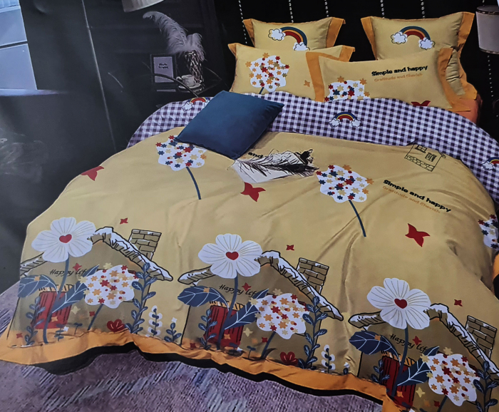 Lenjerie de pat dublu, FINET 6 piese (Finet 945) Galben cu flori, 245 x 250 cm, Luxury Pucioasa [0]