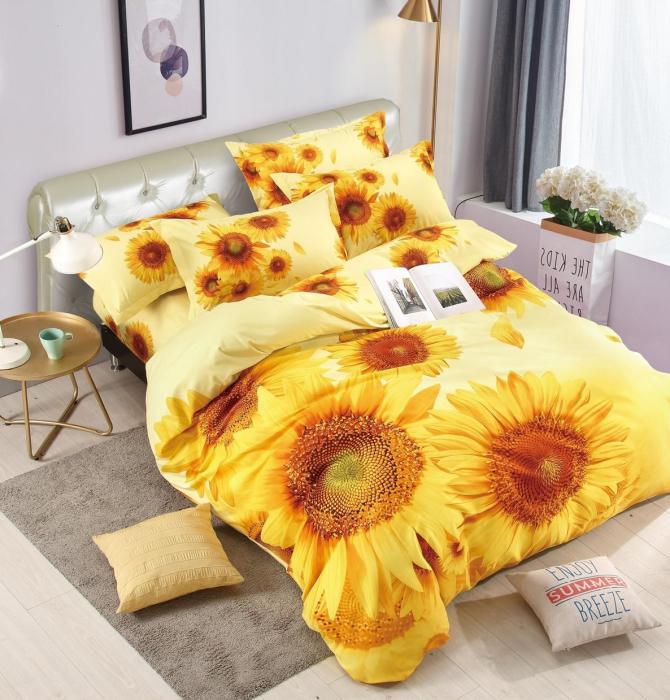 Lenjerie de pat dublu, FINET 6 piese (Finet 971) Floarea Soarelui, 245 x 250 cm, Jojo [0]