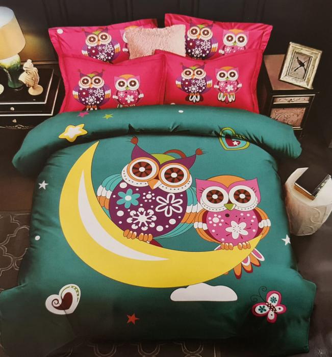 Lenjerie de pat dublu, FINET pentru copii (FC 5) Bufnite, 245 x 250 cm, Jojo Home [0]