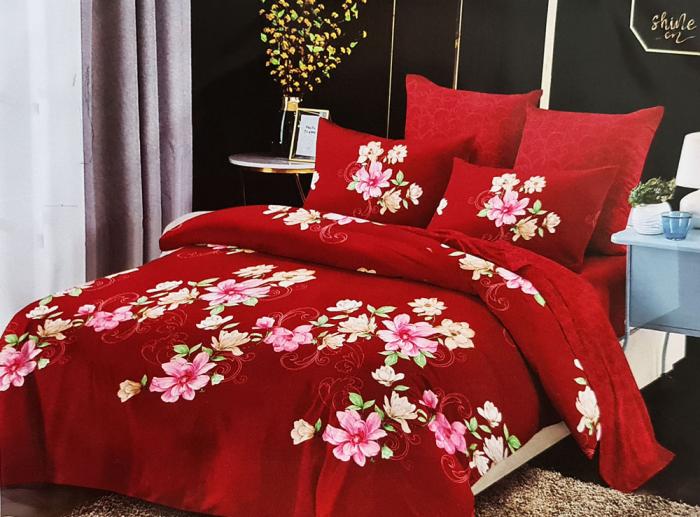 Lenjerie de pat FINET 6 piese (Finet 904) Flori pe rosu [0]