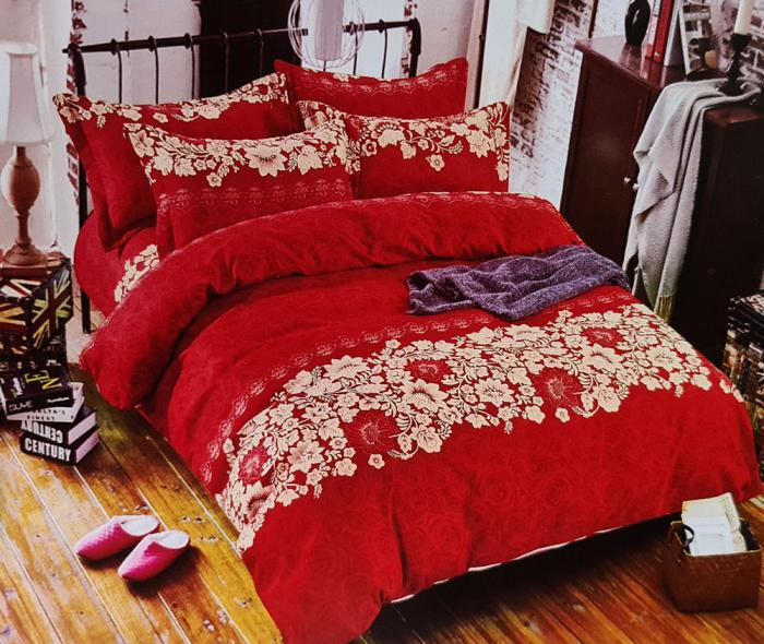 Lenjerie de pat FINET 6 piese (Finet 906) Rosu cu flori [0]