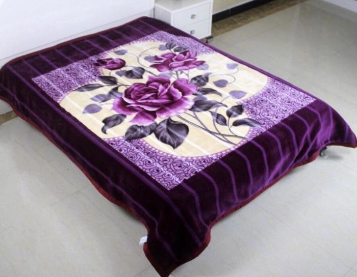 Patura Dubla Groasa, (PDG 4) Mov cu trandafir, 200 x 230 cm, pentru paturi de 2 persoane, Good Life [0]