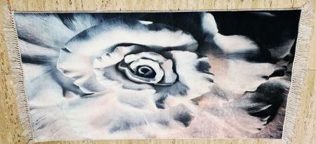 Covor cu imprimeu Floare, (CP 2) 80x150 cm, print digital, antiderapant, franjuri detasabili [0]