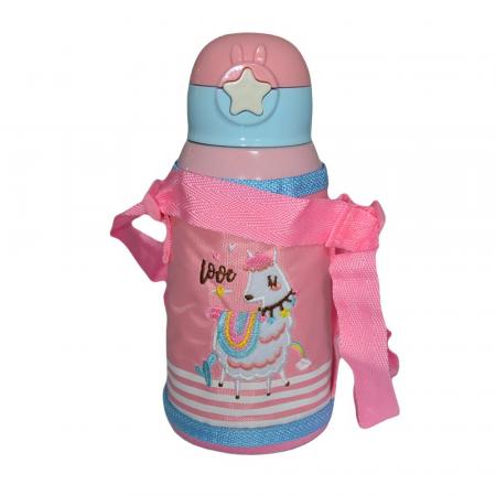 Termos pentru copii, roz (E 58), cu pai, Inox, 0.5L [1]