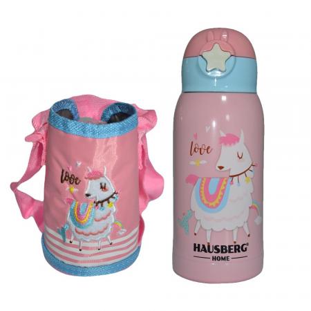 Termos pentru copii, roz (E 58), cu pai, Inox, 0.5L [3]