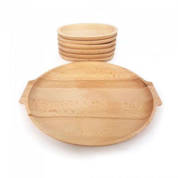 Set 6 farfurii din lemn si un  platou pentru servit [2]
