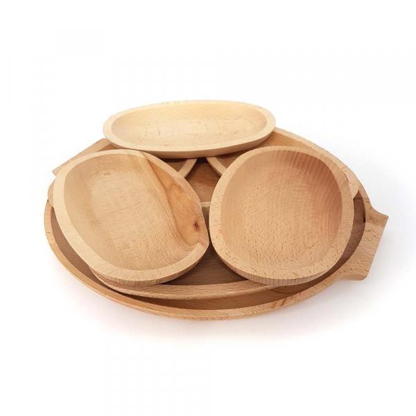 Set 6 farfurii din lemn si un  platou pentru servit [0]