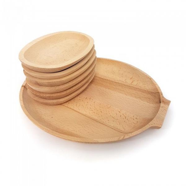 Set 6 farfurii din lemn si un  platou pentru servit [1]