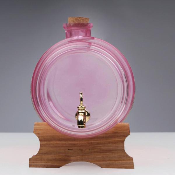 Butoi din sticla roz cu robinet - 1 litru 1
