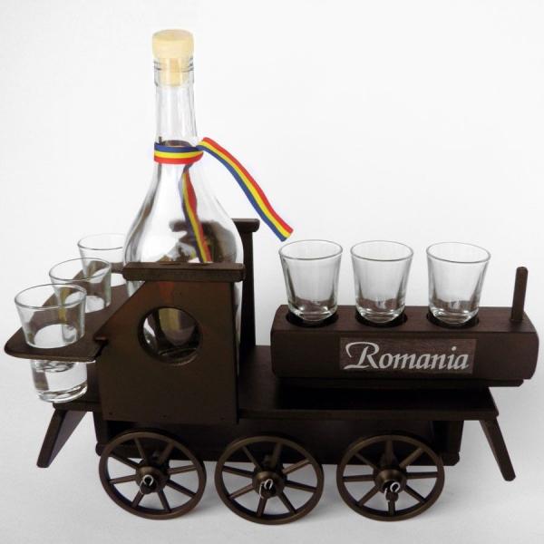 Minibar din lemn locomotiva cu 6 pahare si sticla 0