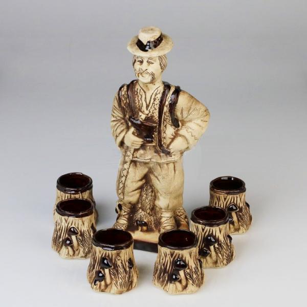 Set cesti cu ulcior pentru tuica, din ceramica, Model Ciobanas 0
