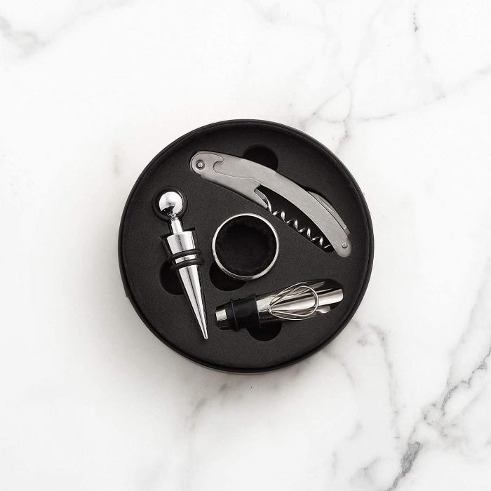 Set 4 accesorii vin in cutie, tirbuson, dop, antipicurator, inel din metal [4]