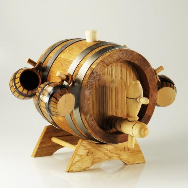 Set butoi din lemn cu 4 pahare din ceramica 0