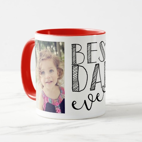 Cana personalizata 2 poze si text Best Dad ever 4