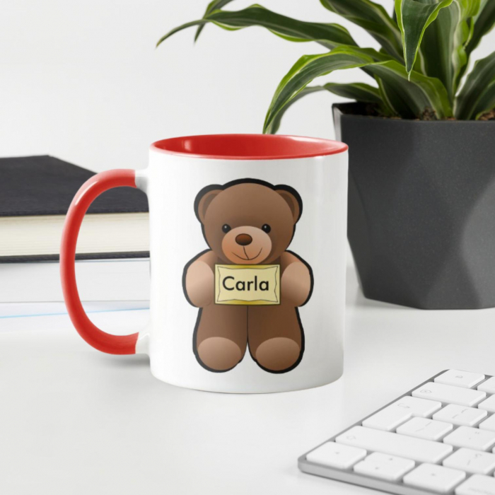 Cana personalizata cu text - Teddy bear 0
