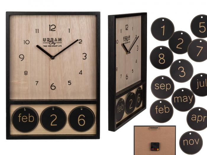 Ceas de perete din lemn cu calendar Urban 1