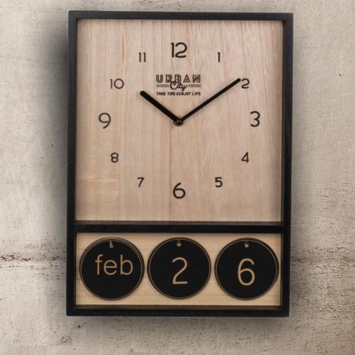 Ceas de perete din lemn cu calendar Urban 0