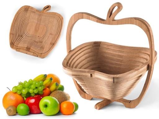 Cos pliabil din lemn pentru fructe 1