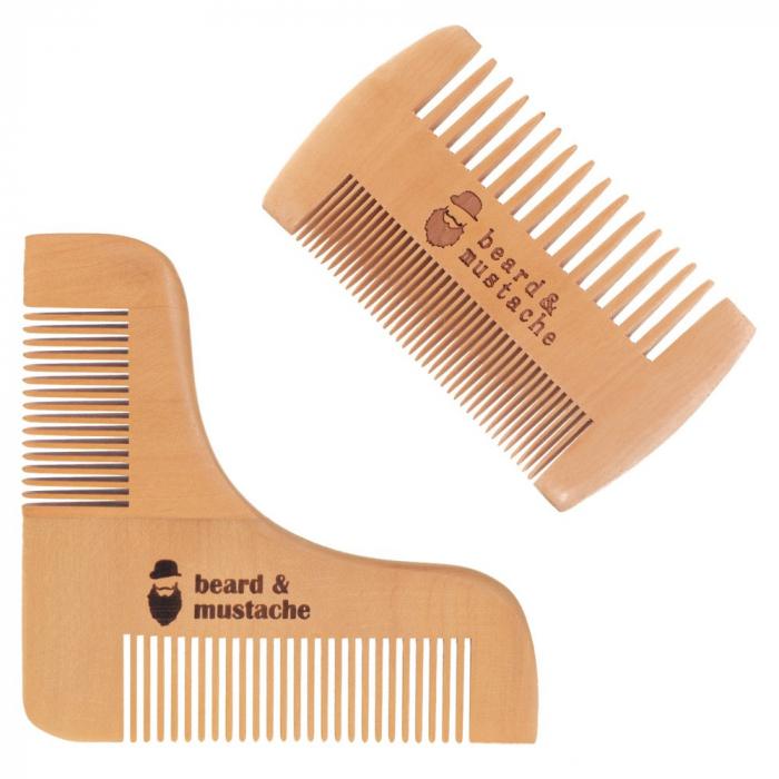 Set de pieptene din lemn pentru barbă și mustață 6