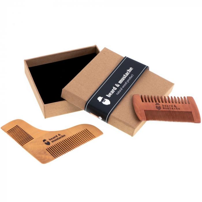 Set de pieptene din lemn pentru barbă și mustață 7
