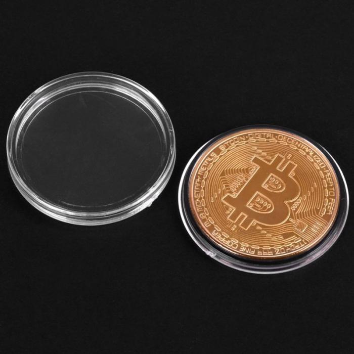 Moneda Bitcoin BTC in carcasa din plastic 3