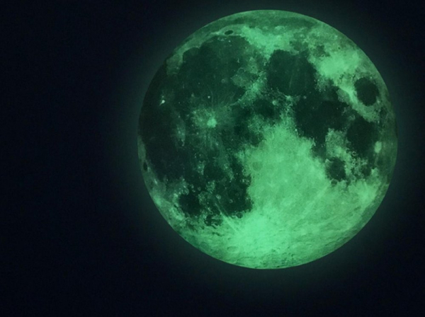 StIcker fosforescent de perete Luna 0
