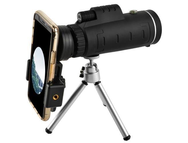 Telescop cu lentile pentru telefon pe trepied