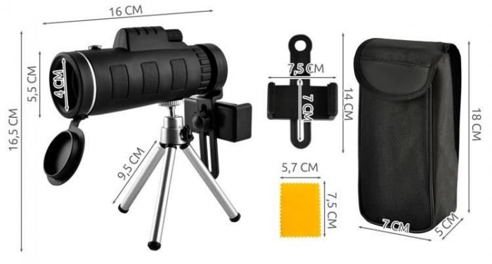 Telescop cu lentile pentru telefon pe trepied 3