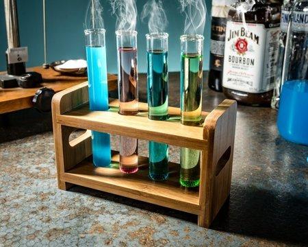 Set eprubeta sticlă  4 buc cu suport din lemn [5]