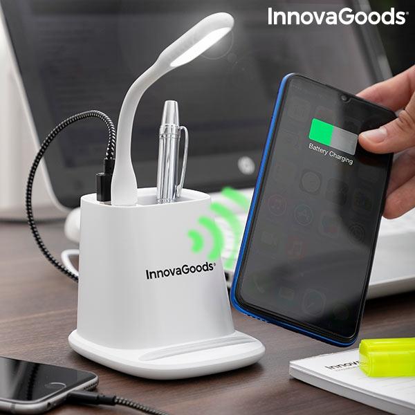 Încărcător wireless cu suport organizator și lampă LED USB 5-în-1 DesKing [0]
